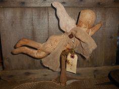 Primitive Grungy Angel Cupid Bobbin Sitter Valentine Handmade Gift #NaivePrimitive #handmade