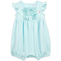 Ralph Lauren Baby Girls Green Spotted Cotton Jersey Shortie ss16