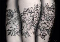 Peonies and Dahlia Tattoo by Sierra Argyle at Seattle Ink & Oil