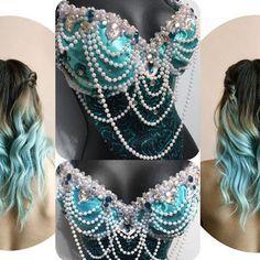 Aqua Mermaid Goddess-  rave, rave bra, halloween, costume, edm, festival, ariel, disney, pearls, siren