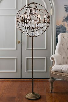 Denise case princessbridal3 leila collection pink and clear glass iron sphere floor lamp chandelier floor lampdiy aloadofball Image collections