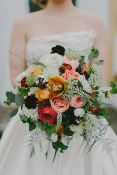 Beautiful autumn inspired bouquet: http://www.stylemepretty.com/2015/04/01/romantic-fall-wedding-at-the-bedford-village-inn/ | Photography: Emily Delamater - www.emilydelamater.com