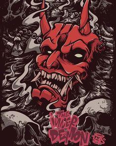 The inner demon Japanese Artwork, Japanese Tattoo Art, Fantasy Kunst, Fantasy Art, Art And Illustration, Samurai Artwork, Demon Artwork, Art Sketches, Art Drawings