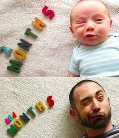 Baby Photo at 2 Months and Years Later Recreation - Kid Looks Like Popeye ---- best hilarious jokes funny pictures walmart humor fail
