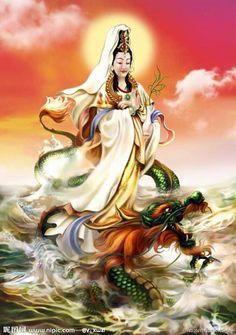 Kwan yin and Chiyu, the red water dragon Chinese Buddhism, Tibetan Buddhism, Buddha Art, Goddess Of Love, Guanyin, Orient, Gods And Goddesses, Deities, Illustration