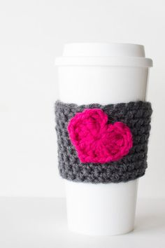 Crochet coffee sleeve Gray with Magenta by HayleyGraceDesigns