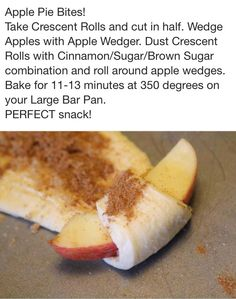 Apple Pie Bites - I peeled the apples first and added the extras for apple pie spice. Easy and tasty treat