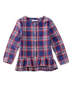 Red & Navy Plaid Ruffle Button-Up - Toddler & Girls