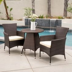 Shop for Melissa Outdoor 3-piece Wicker Bistro Set with Cushions by Christopher Knight Home. Get free delivery at Overstock.com - Your Online Garden