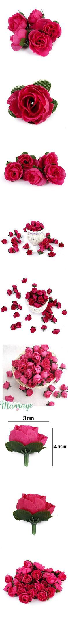 Tinksky 50pcs 3cm Artificial Roses Flower Heads Wedding Decoration (Rosy)