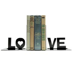 "Inspiration. Need to create pattern.  6.5"" W x 4"" D x 6.5"" H Love Metal Bookends 