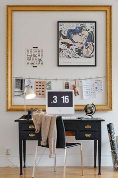 huge empty frame to rein in inspiration wall. via alvhem makleri