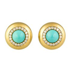 HEMMERLE Turquoise Diamond & Gold Earclips