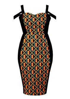 Dresses - Adisa African Print Formal Dress With Straps (Yellow/Black Kente)