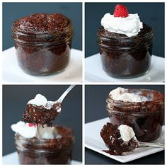 Made these tonight in Mason Jars. Took less than 5 minutes. TOTALLY AWESOME for a last minute dessert or unexpected company! 1 minute lava cake?! It's as delicious as it looks!