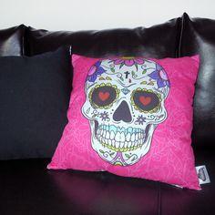 Almofada Caveira Mexicana. Almofada caveira decoração. Skull home decor.