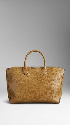 Medium Signature Grain Leather Tote Bag   Burberry