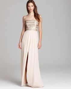 Aidan Mattox Strapless Gown - Beaded Bodice | Bloomingdale's