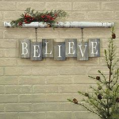 """BELIEVE Barn Board Bricks with Spindle Wall Sign Spindle has an antique white crackled paint finish Weathered and worn """"bricks"""" of reclaimed wood White stencilled letters x x Two clips on the back of the spindle make this item easy to hang Christmas Wood Crafts, Noel Christmas, Christmas Projects, All Things Christmas, Holiday Crafts, Christmas Ornaments, Holiday Decor, Christmas Wood Decorations, Christmas Ideas"""