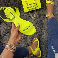 Head over Heels - Dhong Cute Sandals, Cute Shoes, Me Too Shoes, Shoes Sandals, Shoes Sneakers, Neon Sandals, Neon Shoes, Yellow Sandals, Sandals Outfit