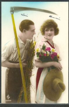 KA096 ART DECO FARMER Style COUPLE SCYTHE KITSCH Tinted PHOTO pc