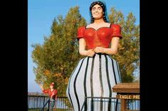 Paul Bunyans Girlfriend statue resides about 50 miles southeast of Bemidji, Minnesota, in a resort town called Hackensack.