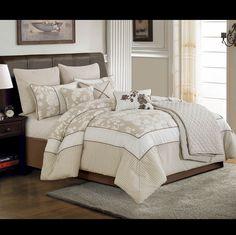 Ivory Rose 10 psc. Queen Comforter Set