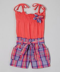 Take a look at the Coral & Purple Plaid Tie Romper - Infant, Toddler & Girls on #zulily today!