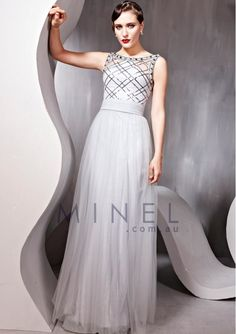 Silver Square Zipper A-line Formal Dresses