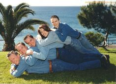 Who thought dressing in denim and laying on top of each other in front of the ocean was a good idea?  Hilarious!