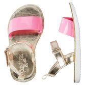 Perfect for your girly girl, these pink and gold sandals will add a little shine to her step!<br>