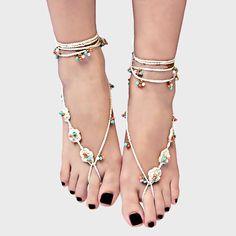 loral Crochet Barefoot Sandals Anklets, wedding idea , bridesmaid gift , beach wedding , summer wedding