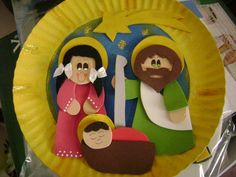 Nativity scene paper plate craft Nativity Crafts, Christmas Nativity, Noel Christmas, A Christmas Story, Christmas Ornaments, Holiday Crafts For Kids, Christmas Activities, Xmas Crafts, Paper Plate Art