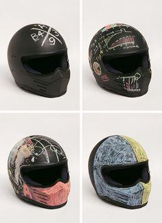Motorcycle helmet + chalkboard paint A new design with every ride! Custom Helmets, Custom Bikes, Motorcycle Style, Motorcycle Helmets, Motorcycle Equipment, Moto Cafe, Cafe Bike, Cafe Racer Helmet, Harley Davidson
