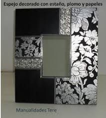 Resultado de imagen para espejos con decoupage Frame Crafts, Diy Frame, Marco Ikea, Decoupage, Aluminum Foil Art, Pewter Art, Scrapbook Frames, Mirror Painting, Mirror Mosaic