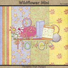 Digital Scrapbooking Wildflower Mini Kit #DandelionDustDesigns #DigitalScrapbooking