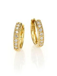 "Jude Frances - Classic Diamond & 18K Yellow Gold Huggie Hoop Earrings/0.5"""