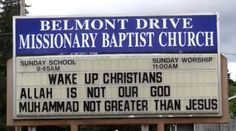 """(Angry Patriot) – An Oregon pastor is standing up against the forces of Islam and political correctness, becoming a hero for free speech and Christians everywhere! """"Wake up Christians. Allah is not our God. Muhammad not greater than Jesus,"""" proclaimed the sign positioned in front of Belmont Drive Missionary Baptist Church. The church's pastor, Michael …"""
