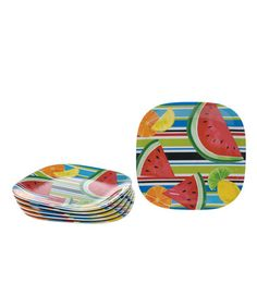 Take a look at this Fruit Splash Square 8.5'' Salad Plate - Set of Six by Certified International on #zulily today!