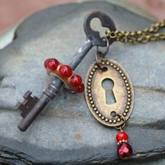 Custom Made Skeleton Key Necklace, Steampunk Jewelry, Boro Lampwork Glass Beaded Pendant, Red - Lock And Key