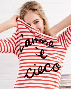 "Win-win: a classic striped tee that also offers Italian words of wisdom. (Translation: ""love is blind. J Crew Style, My Style, Words Of Wisdom Love, Sailor Fashion, Red Fashion, Crop Top Outfits, Personal Stylist, Striped Tee, Clothes For Women"