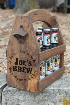 BEER TOTE - In Heaven There is no Beer - Rustic Wood- Beer Carrier - Man Cave - Brewery - Personalized - Bottle Opener - Repurposed - Wood by AbsoluteImpressions on Etsy https://www.etsy.com/listing/221349993/beer-tote-in-heaven-there-is-no-beer