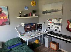 Bedroom Setup, Room Design Bedroom, Room Ideas Bedroom, Gaming Room Setup, Pc Setup, Desk Setup, Home Office Setup, Office Desk, Game Room Design