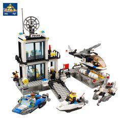 Blocs de construction bus Police Station camion Ville Avion bateau Enfants Enfants Jouets Compatible Avec Legoe De Noël Cadeaux pour les Enfants