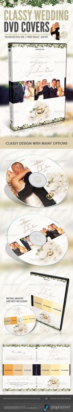 Buy Classy Wedding DVD Covers by ShermanJackson on GraphicRiver. A classy wedding dvd cover and disc label artwork. It's your best choice even if you or your clients wedding doesn't . Wedding Cd, Vintage Wedding Cards, Wedding Looks, Card Wedding, Cd Cover Design, Cd Cover Art, Wedding Invitation Card Template, Print Templates, Design Templates