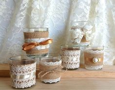 6 burlap and lace covered votive tea candles, country chic wedding decoration, bridal shower decor or home decor, vintage style