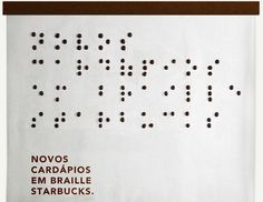 Starbucks Spells Out Its New Braille Menu With Coffee Beans - DesignTAXI.com