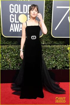 06dd9a9f449 Dakota Johnson Wears Stunning Black Gown at Golden Globes 2018