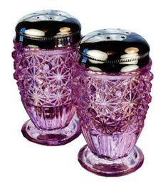 Fenton Daisy Button Pattern Salt & Pepper Shakers in Rose Glass