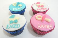 Cupcake chá de bebê - Lindos e saborosos para enfeitar a sua festa.